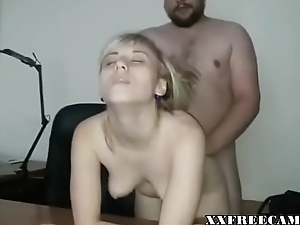Remarkable Beautiful Short haired blonde shagging her boss at bottom cam-xxfreecams.com