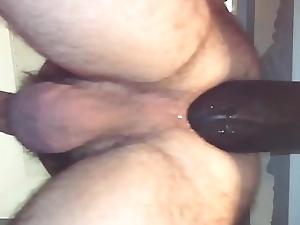 Anal baloney deep insertion with big long dildo