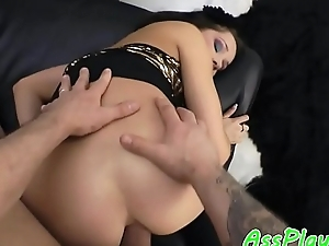 Anally banged coddle sucking cock in pov