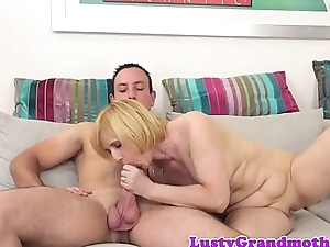 Cocksucking grandma receives banged in missionary