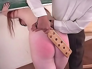 Spanking Roleplay - Hot readhead gets punished during schoolgirl roleplay - JustBangMe.com