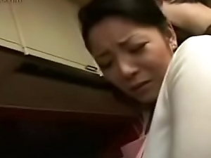 Hot Japanese Asian Mom fucks her Son in Kitchen
