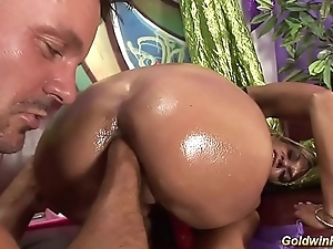 oiled cosset gets deep fisted and fucked