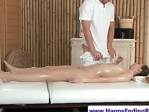 Euro tot riding cock on the massage table