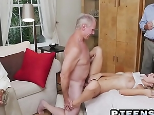 Horny old bastard still knows how to use his firm veteran penis