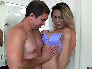 Small dicked shemale Bella Atrix buttfucked bareback