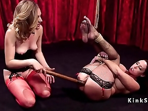 Tied approximately brunette anal strap on fucked