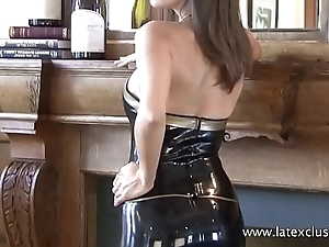 Classy latex babe Jerris just softcore posing in rubber fetishwear and beautiful
