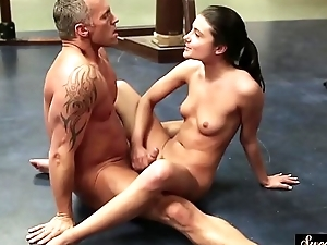 Cockriding stepdaughter screwed on the floor