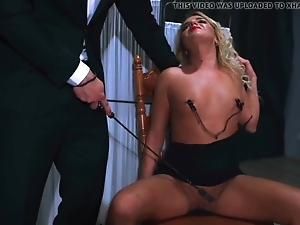 Helpless blonde stretched by master in doggystyle