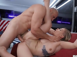 Excited blonde takes cum on belly after hardcore sex