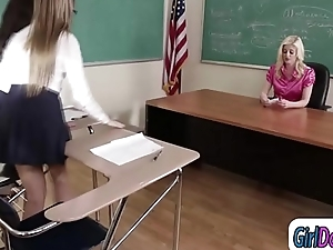 Faggot teacher tempted by and gets licked by her students