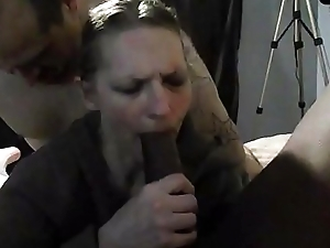 Mature wife sucking her first BBC while hubby fucks her