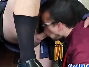 Gay employee cocksucking while assfucked